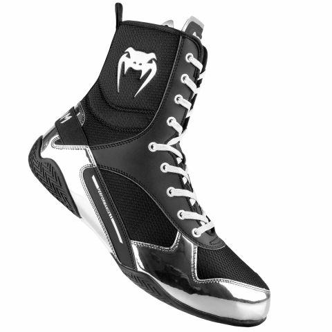 Venum Elite 拳击鞋 - 黑/银