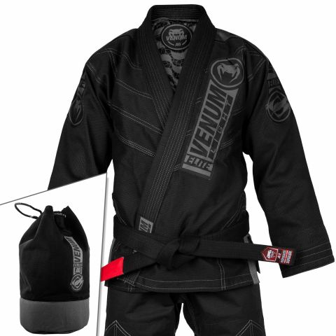Venum Elite Light 2.0 巴西柔术道服 - (含道服包) - 黑/黑