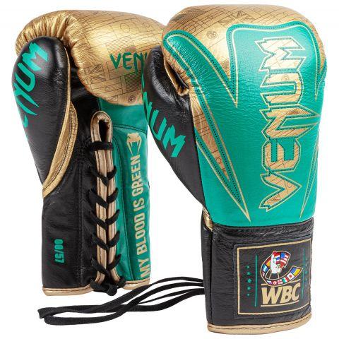 Venum Hammer 专业拳套 WBC 限量版 - 系带款 - 绿色金属漆/金