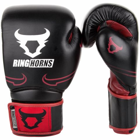 Ringhorns Destroyer 拳击手套 - 皮 - 黑/红