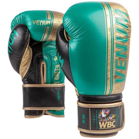 Venum Shield 专业拳套 WBC 限量版 - 尼龙搭扣 - 绿色金属漆/金