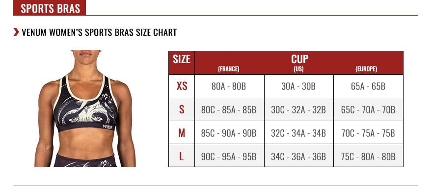 venum women sports bras size chart