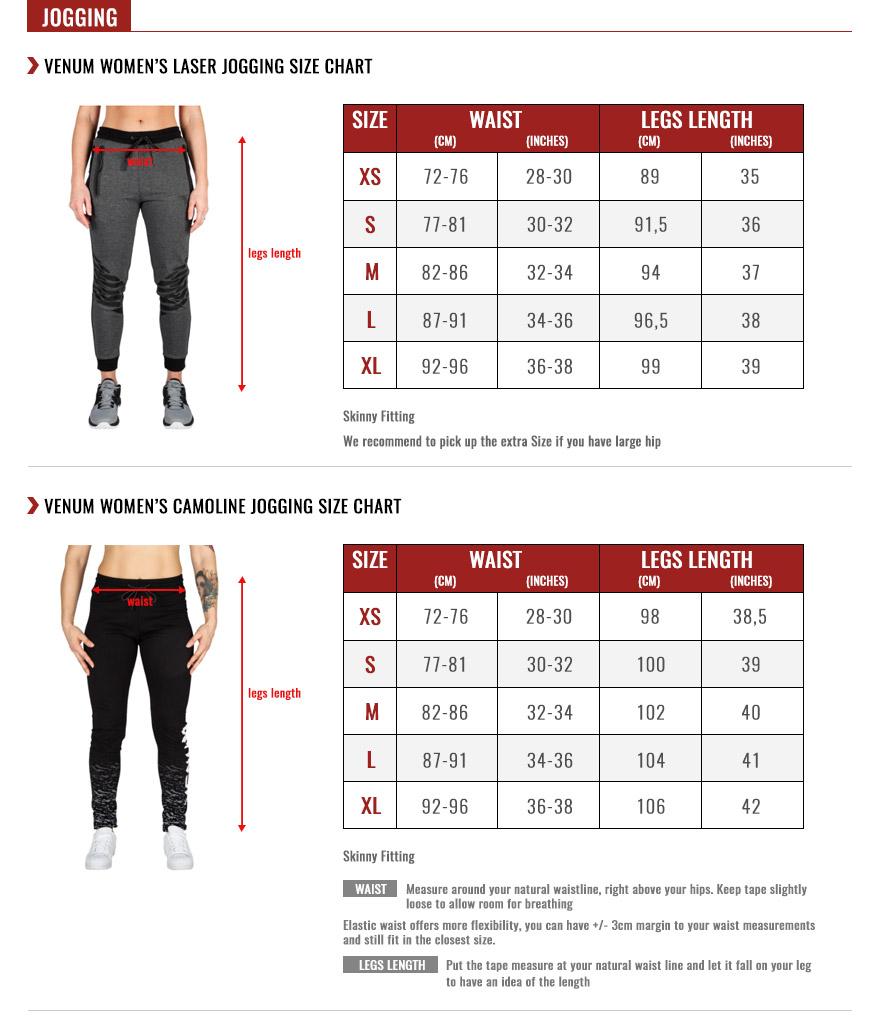 venum women joggings size chart