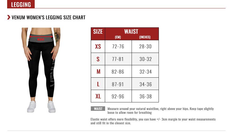venum women bottoms size chart